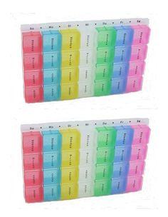 Tablettenbox Pillendose farbig unterteilt für 7 Tage mit 28 Fächern 2 Stück 001