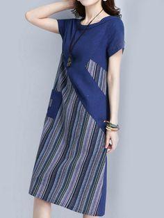 Gracila Striped Patchwork O Neck Short Sleeve Pocket Women Dresses