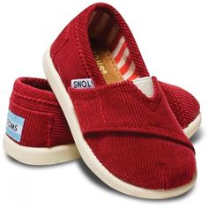 Tiny TOMS Crimson Cord Classic T7 (185 VEF) ❤ liked on Polyvore featuring baby, baby stuff, baby clothes, baby boy and baby shoes