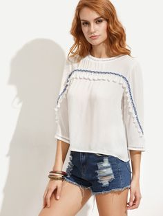 14$  Watch here - http://dia05.justgood.pw/go.php?t=3944 - Beige Tassel Braided Trim Blouse