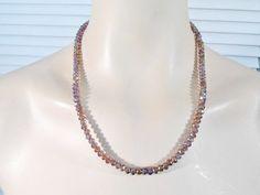 Boho Necklace Purple Crystal Beads Beaded by LandofBridget on Etsy