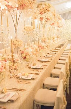 Luxury wedding inspiration , white and gold wedding reception by Karen Tran Pink Wedding Receptions, Wedding Reception Outfit, Luxury Wedding Decor, Wedding Reception Photography, Glamorous Wedding, Wedding Reception Decorations, Wedding Themes, Wedding Centerpieces, Wedding Table