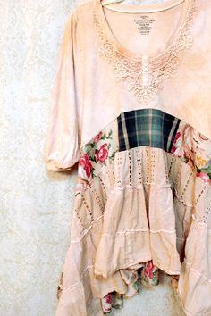REVIVAL Boho Shirt, Shabby Chic Romantic, Hippie Bohemian Junk Gypsy Style, Mori Girl, Lagenlook, Country Girl Chic, Free People Style, Anthropologie Inspired, Coachella Music Festival Shirt