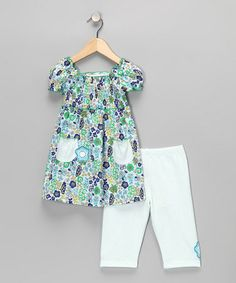 Take a look at this Blue Pocket Tunic & Leggings - Infant & Toddler by Sweet Potatoes on #zulily today!