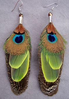 peacock  parrot and pheasant layered by FeatherDesignsbyBD on Etsy, $56.00