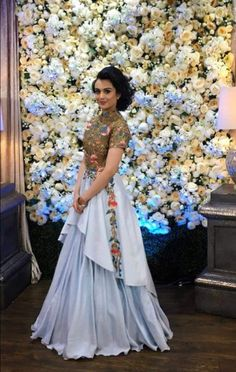 Beautiful double layered embroidered gown Indian Wedding Gowns, Indian Gowns Dresses, Girls Dresses, Choli Dress, Saree Gown, Indian Designer Outfits, Designer Gowns, Indian Attire, Indian Outfits