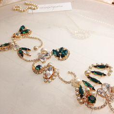 "66 Likes, 5 Comments - H E L E N A  N O E L L E (@helenanoellecouture) on Instagram: ""Beautiful emerald sash in progress...sneak peek for lovely HelenaNoelle bride, Kristen...xoxo…"""