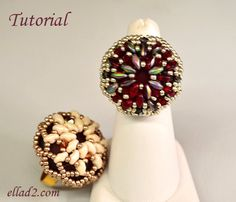 Super Cocktail Ring 2 Is another big cocktail ring with Lunasoft cabochon and Superduo beads. If you like big rings (as much as I do :) ) – eye
