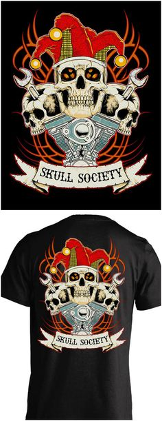 Killer skull, wrenches, v-twin engine motorcycle t-shirt! Skull Society has the best biker shirts around. Check them out here: http://skullsociety.com/products/wrench-head?utm_source=pinterest&utm_medium=skull_061616_196&utm_campaign=061616