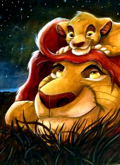 «Papà?» «Hmm?» «Siamo amici, vero?» «Certo» «E staremo sempre insieme, vero?» «Simba.. lascia che ti dica una cosa che mio padre disse a me. Guarda le stelle. I grandi re del passato.. ci guardano da quelle stelle.» «Davvero?» «Sì. Perciò, quando ti senti solo.. ricordati.. che quei re saranno sempre lì per guidarti. E ci sarò anch'io.»