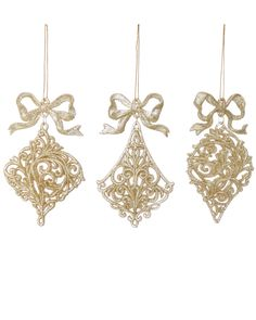 Set of Twelve Finial Ornaments with Bows is on Rue. Shop it now.