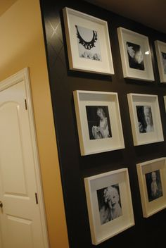 black wall white frames bw photos