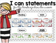 "This packet includes over 200 ""I can"" statements for use in the Kindergarten classroom. It makes for a great bulletin board display that students, teachers, and administrators can refer to for evidence of goal setting in your classroom! The standards are broad and can be used in classrooms across the country."