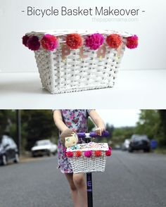 Bicycle Basket Makeover DIY! Makeover an old basket and attach it to your kiddo's scooter or bike. #kid #kiddiy