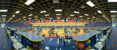 """Redstone Arsenal Bowling Center Design of a 38,500 SF, 32 lane bowling facility and fun center with """"Strike Zone"""" restaurant, sports bar, party and meeting facilities, arcade and support areas for the Army MWR.  Award winning interior design."""