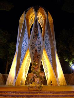 Monument to Persian philosopher, poet, astronomer Omar Khayyam (1048-1131) is beautiful example of Islamic art, completed 1963 in Nishapur, Iran