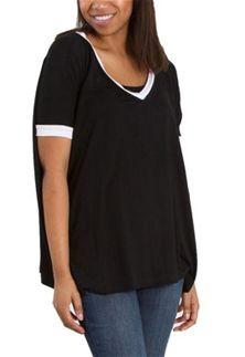 Piko Top V-neck Ringer Short Sleeve in Black T2801