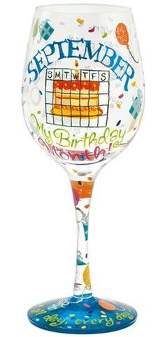 September Birthday Lolita Wine glass