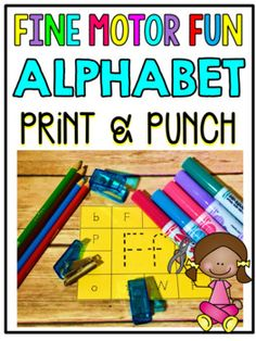 Print & Punch Alphabet Cards! This center is the perfect combination of academics and fine motor skills. You can print each page off on standard paper or cardstock. You can also choose to use white paper or colored paper. Have students trace and color (if applicable) everything on their card. Then, they will use a hole punch to punch out the correct answer. Students will punch out the matching capital and lowercase letters. $