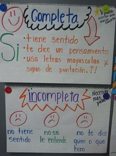Complete and Incomplete sentences anchor chart in Spanish