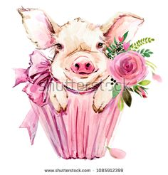 Illustration about Watercolor cute pig. Symbol 2019 new year. Illustration of face, head, card - 125607794 Pig Illustration, Watercolor Illustration, Watercolor Art, Pig Images, Wallpaper Fofos, Tout Rose, Pig Drawing, Pig Art, Cute Pigs
