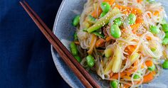 Shirataki noodles are long, white noodles. They are often called miracle noodles or konjac noodles. They're made from glucomannan, a type of fiber that