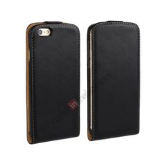 Magnetic Vertical Flip Genuine Leather Case for iPhone 6 Plus 5.5inch - Black US$10.69