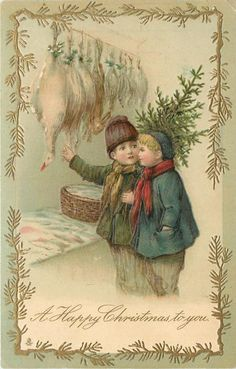 A HAPPY CHRISTMAS TO YOU  two boys, one carrying tree discuss Christmas poultry hanging in shop