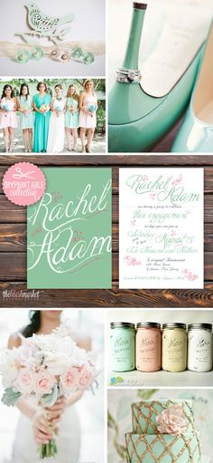 Mint and Blush Wedding Color Inspiration. Love the invitations? Download the DIY on Etsy