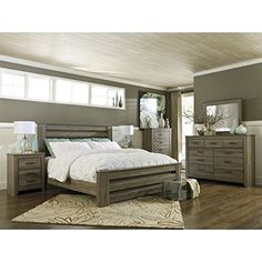 Bring the rustic beauty of vintage casual design into your home with the Zelen 5 Piece Bedroom Set from the Zelen Bedroom Collection by Ashley Furniture. Zelen 5 Piece Bedroom Set by Ashley Furniture…More Farmhouse Master Bedroom, Wood Bedroom, Master Bedroom Design, Bedroom Furniture Sets, Bedroom Ideas, Bedroom Decor, Bedroom Colors, Bedroom Designs, Wall Decor