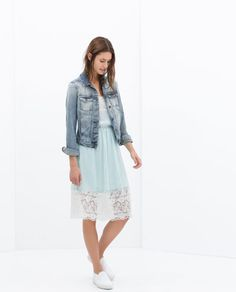 LACE DRESS - just gorgeous, feminine lace and casual jean jacket