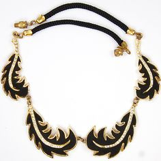 Henry a la Pensee Made In France Gold Pave Black Velvet Leaves Necklace