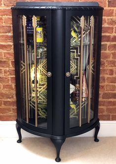 Vintage Glass Fronted Display/Drinks/Gin Cabinet in Black with Tropical Deco Print Bohemian Furniture, Art Deco Furniture, Paint Furniture, Shabby Chic Furniture, Furniture Projects, Furniture Makeover, Vintage Furniture, Refurbished Furniture, Upcycled Furniture
