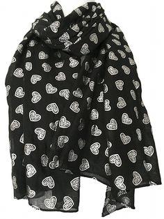 98e85eb59 Black Scarf Silver Love Hearts Ladies Sarong Wrap Shawl Sparkly Foil Heart  Print