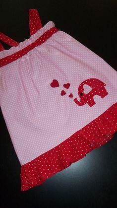 "Baby Infant Toddler Girls appliqued  ""Elephants & Hearts""  Valentine's Day Dress - Pillowcase Dress - Sun Dress"