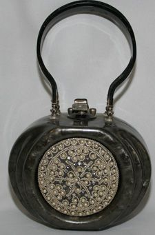 Exceptional Gray Lucite Purse with Pearls,