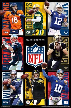 NFL Quarterbacks, Assorted Players, x Wall Poster Nfl Football Helmets, Packers Football, Football Memes, Football Cards, Baseball Cards, Fantasy Football Players, Nfl League, Nfl 49ers, Football Is Life