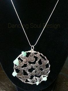 Butterfly and jade round pendant necklace  https://www.etsy.com/listing/245515098/butterfly-and-jade-round-pendant