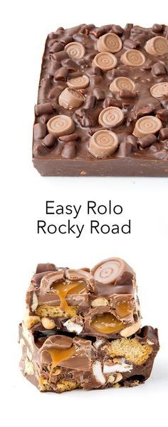 Amazing Easy Rolo Rocky Road made with just 6 ingredients! Gooey chocolate caramel, marshmallows, peanuts and cookies all covered in chocolate! snacks indian Easy Rolo Rocky Road (No Bake) - Sweetest Menu Keks Dessert, Oreo Dessert, Candy Recipes, Sweet Recipes, Dessert Recipes, Snack Recipes, Xmas Recipes, Disney Recipes, Easy Baking Recipes