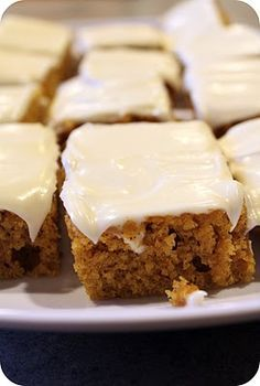 Pumpkin Bars  2 cups flour  2 teaspoons baking powder  2 teaspoons cinnamon  1/2 teaspoon nutmeg *  1 teaspoon salt  1 teaspoon baking soda  4 eggs  1 and 2/3 cups sugar  1 cup oil  1 can (15oz) pumpkin (not pumpkin pie filling)    Frosting:  1 8oz. package of cream cheese   1/3 cup softened butter  4 cups powdered sugar  2 tsp pure vanilla extract  1 Tbsp milk