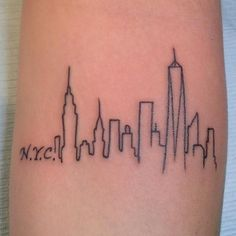 New York City Skyline by A.R.T. Trained Tattoo Artist Pete Doty. Click for more tattoo inspiration.