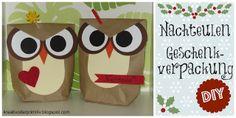 Owl gift wrapping Eule Nachteule Geschenk Verpackung Idee DIY selber machen basteln anleitung tutorial basteln Weihnachten Geburtstag Tüte Karton