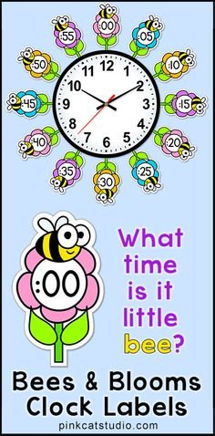 Make your classroom clock bloom with these fun bees and flowers theme labels! Perfect for a bee or garden theme classroom or a fun accent to add to your room in the spring. By Pink Cat Studio