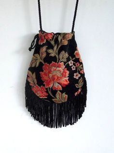 Floral Fringe Tapestry Gypsy Bag Black Cross Body Bag Bohemian Hippie Bag Festival Bag Renaissance bag Shoulder Bag Hand Bag - Rifle Tutorial and Ideas Hippie Bags, Boho Bags, Formation Couture, Gypsy Bag, Boho Gypsy, Bohemian Bag, Gypsy Skirt, Bag Women, Embroidery Bags