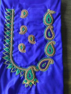 Pattu Saree Blouse Designs, Blouse Designs Silk, Bridal Blouse Designs, Aari Embroidery, Embroidery Stitches, Peacock Embroidery Designs, Maggam Work Designs, Sari Design, Jewelry Design Drawing