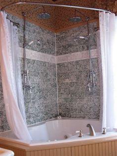 double shower corner tub shower