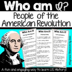 In my Who Am I? People of the Revolution game, students will learn about 18 historical figures of the American Revolution through a fun and engaging activity. Detailed directions are included with the resource. Check out the preview to see the directions and some of the cards included.