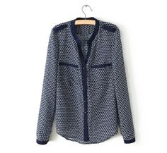Trendy Stand Collar Single-Breasted Epaulet Embellished Color Splicing Printing Shirt For Women