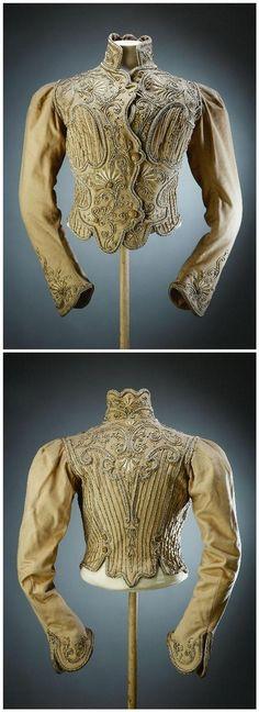 1902- 1907 Jacket or bodice, wool and silk fabric, silver braid embroidery -  Palais Galliera, musée de la Mode de la Ville de Paris  (found original museum link but it is now broken)
