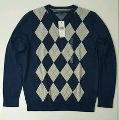 NWT Tommy Hilfiger Men's V Neck Argyle Sweater  XLARGE Navy #TommyHilfiger #VNeck